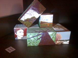 My work projection mapped on to blocks, with the image being mapped on top of the blocks as well as on the sides.
